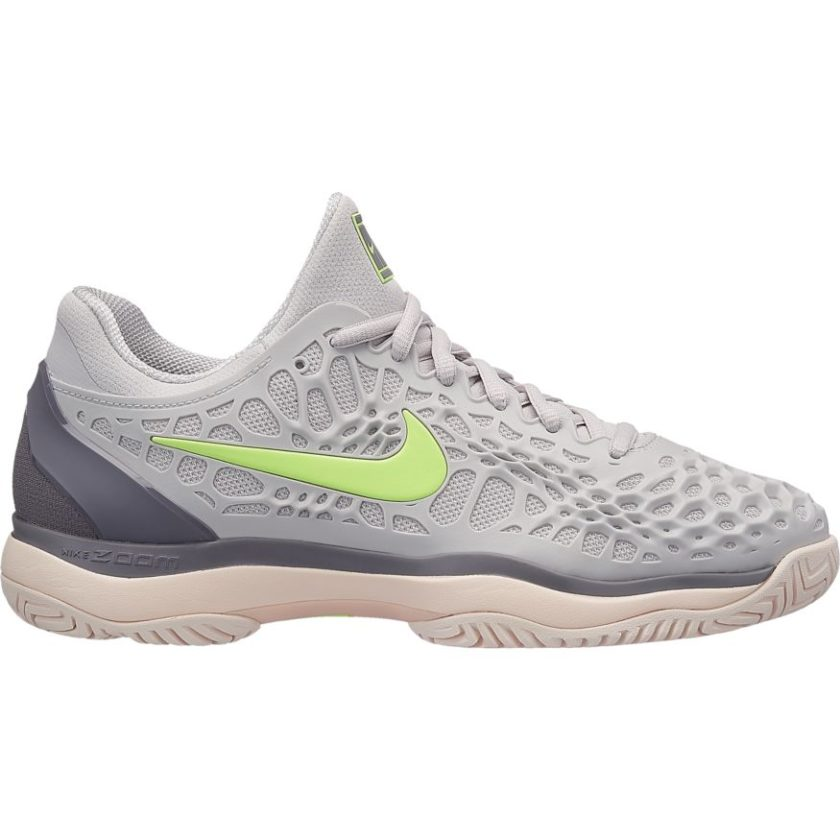 72c70ad21819 Nike Women s Air Zoom Cage 3 Vast Grey Volt Glow Gun Smoke Tennis Shoe